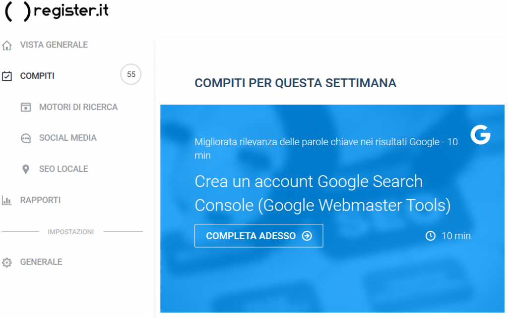 Guida all Google Search Console su rankingCoach di Register.it
