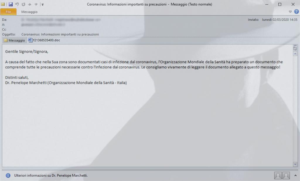 Coronavirus. Malware via email