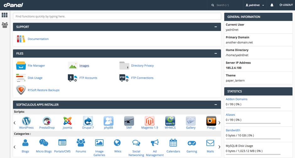cPanle - Softaculous App Installer